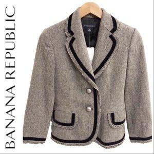 Banana Republic Herringbone Wool Fray Edge Blazer